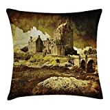 Ambesonne Ancient Throw Pillow Cushion Cover, Scottish Castle in Vintage Style European Middle Age Culture Heritage Town Photo, Decorative Square Accent Pillow Case, 18 X18 Inches, Grey Green