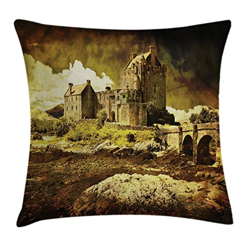 Ambesonne Ancient Throw Pillow Cushion Cover, Scottish Castle in Vintage Style European Middle Age Culture Heritage Town Photo, Decorative Square Accent Pillow Case, 18 X18 Inches, Grey Green by Ambesonne