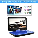 DBPOWER 10.5' Portable DVD Player with Rechargeable Battery, Swivel Screen, SD Card Slot and USB Port - Blue