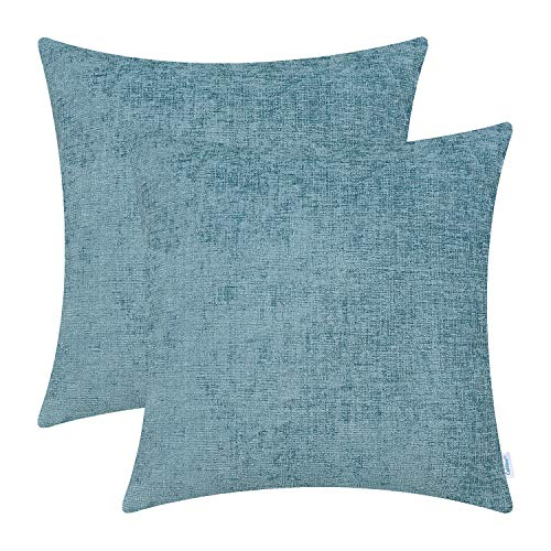 CaliTime Pack of 2 Cozy Throw Pillow Covers Cases for Couch Sofa Home Decoration Solid Dyed Soft Chenille 18 X 18 Inches…