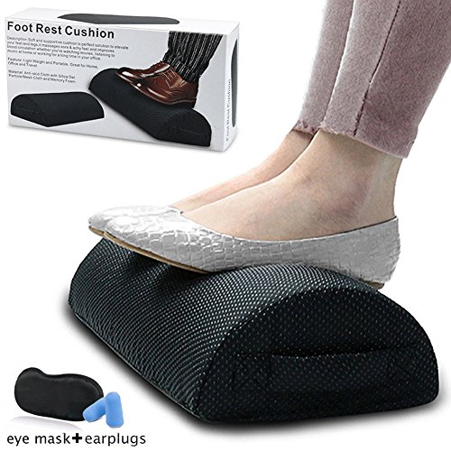 (Foot Rest Cushion Under Desk,Memory Foam Half Moon Bolster Pillow for Optimum Leg Clearance to Relieve Leg,Foot,Hip,Ankle and Joint Pain)