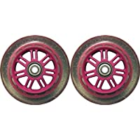 Kick Push 88A Replacement Wheels for Razor Kick Scooter (2 Pack), 100mm, Pink/Glitter