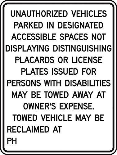 Accuform Signs FRA189RA Engineer-Grade Reflective Aluminum Handicapped Parking Sign (California), Legend