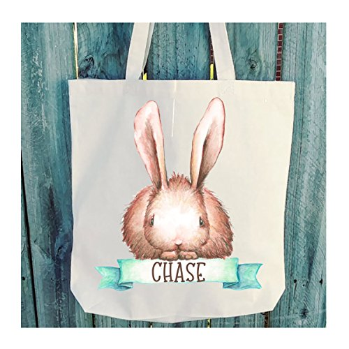 Brown Bunny with Banner Easter Tote - Personalized - 6 oz Light Weight Natural ()