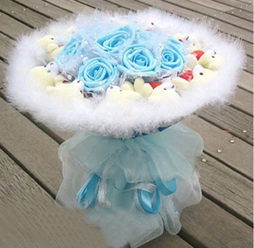 Teddy Bear Rose Bouquet Shaped Plush Toys Valentine's Day and Christmas Gifts (Blue)