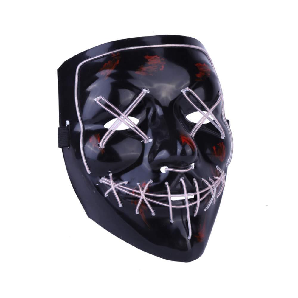 Kimkoala LED Light Cosplay Mask Halloween Frightening EL Light Up Luminous Glow Masks for Festival Dance Parties Costume