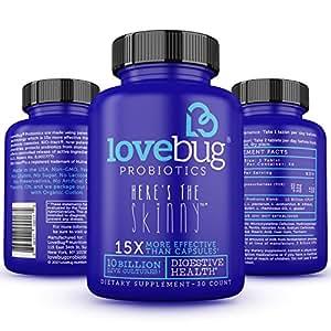 LoveBug Probiotics Supplement - Enhance Immune System for Digestive Health - 10 Billion CFU, Delayed Release, Gluten Free Tablet perfect for Women & Men - 30 Day Supply.