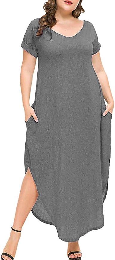 Vestido Largo Mujer Talla Grande Vestido De Verano Mujer 2019 Moda Vestidos De Fiesta Mujer Elegantes Vestidos De Coctel Tallas Grandes Senoras Vestido Largo Manga Corta Amazon Es Ropa Y Accesorios