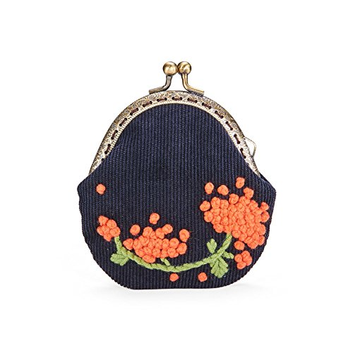 Fahsewelry Women's Vintage Clutch Handbag Lady Lace Flower Embroidered Mini Coin Purse Wallet Evening Handbag (110110mm, Dark Blue)