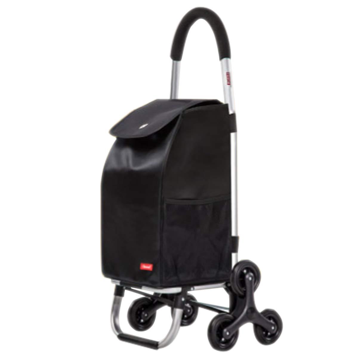 YGUOZ 大 折りたたみ ショッピングカート、2 輪、ショッピングキャリー、取り外し可能なバッグ、ショッピングキャリーカート 軽量(55L),black  black B07MV7V6PK