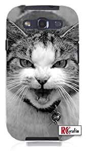 Angry & Mean Kitty Cat w/ Attitude Unique Quality Soft Rubber TPU Case for Samsung Galaxy S3 SIII i9300 - White Case