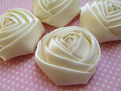 YYCRAFT Pack of 20 Satin 4d Rose Flower 2 1/2''(6.5cm) Craft Wedding Bride-Ivory by YYCRAFT