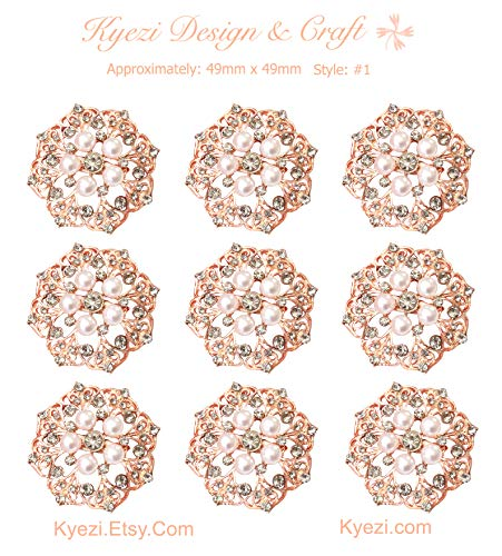 - 9pcs Set Rose Gold Gorgeous Luxury Sparkling Rhinestone Brooches, Kyezi Design & Craft Big Pearl Crystal Wedding Bouquet Kit DIY Set Invitation Decoration (Style: 1, 1 Set (9pc))