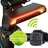 Bicycle Tail Light, Elecguru Wireless Rechargeable Remote Control Waterproof LED Warning Flashing Turn Signals Bicycle USB Chargeable Laser Rear Light for Bike (LED light)