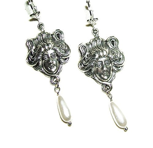 ART NOUVEAU LADY GODDESS Long DROP Earrings with Pearl Bead Dangles Silver Plated Figural
