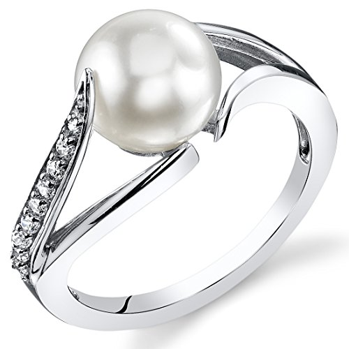 Simply Elegant 8.0mm Freshwater Cultured White Pearl Ring in Sterling Silver Size 8
