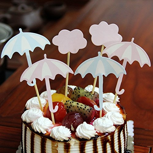 Amazon Com Gocrown Umbrella And Cloud Cake Cupcake Toppers Picks