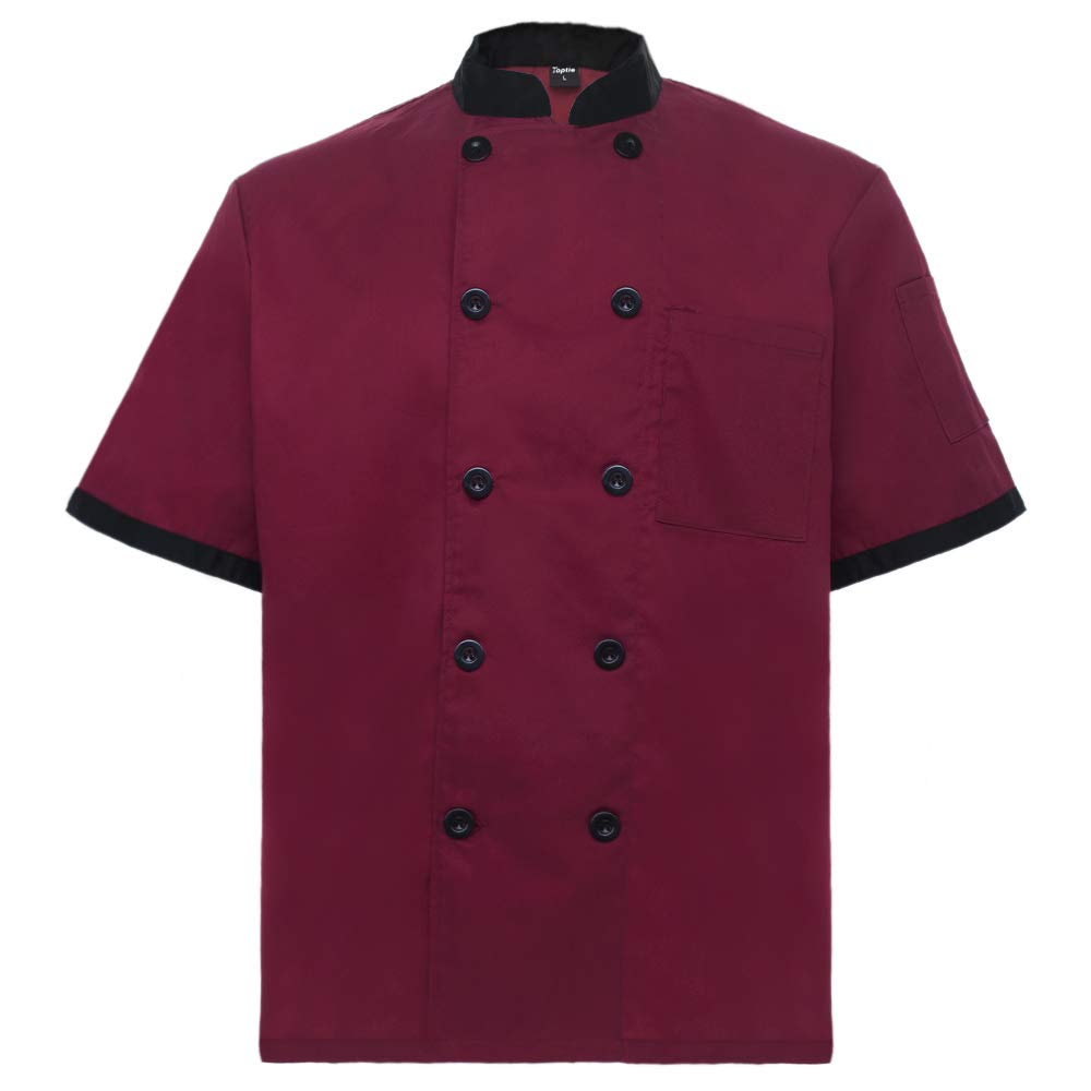 TopTie Unisex Short Sleeve Chef Coat Jacket, Red by TopTie