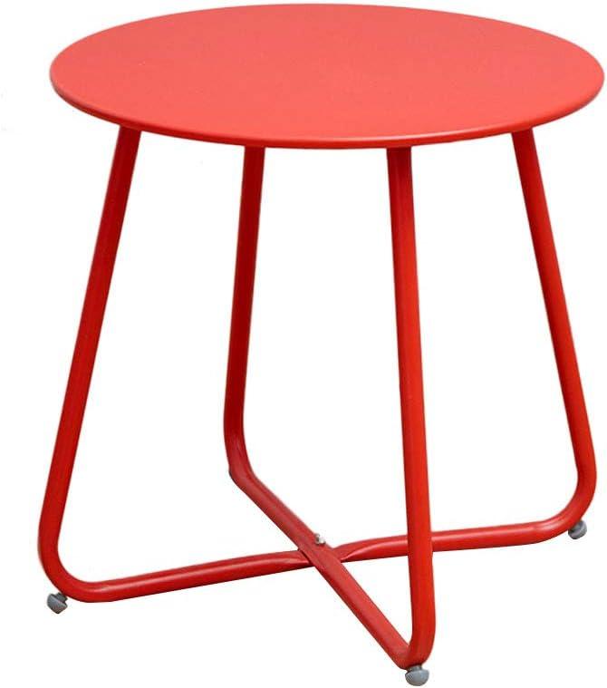Nieuwe Aankomst KangJZ-Tables KJzhu woonkamertafel, slaapkamer ijzer kunst multifunctionele kleur nachtkastje balkon sofa bijzettafel - 45 * 45 cm groot rood JSaFKal