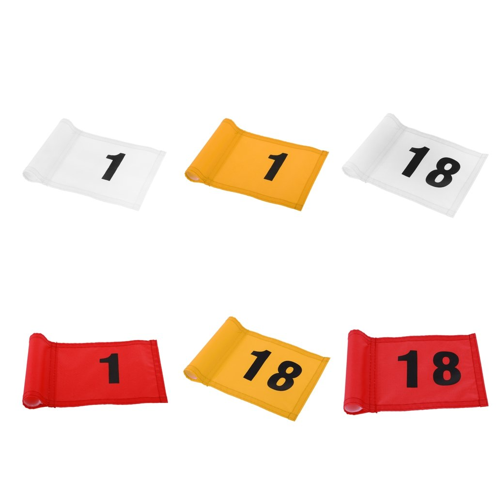 MagiDeal 6 Pieces Assorted Colors Small Durable Nylon Golf Flag Number 1 and 18 Golf Putting Green Flag 18x12 cm/7.1x4.7 inch