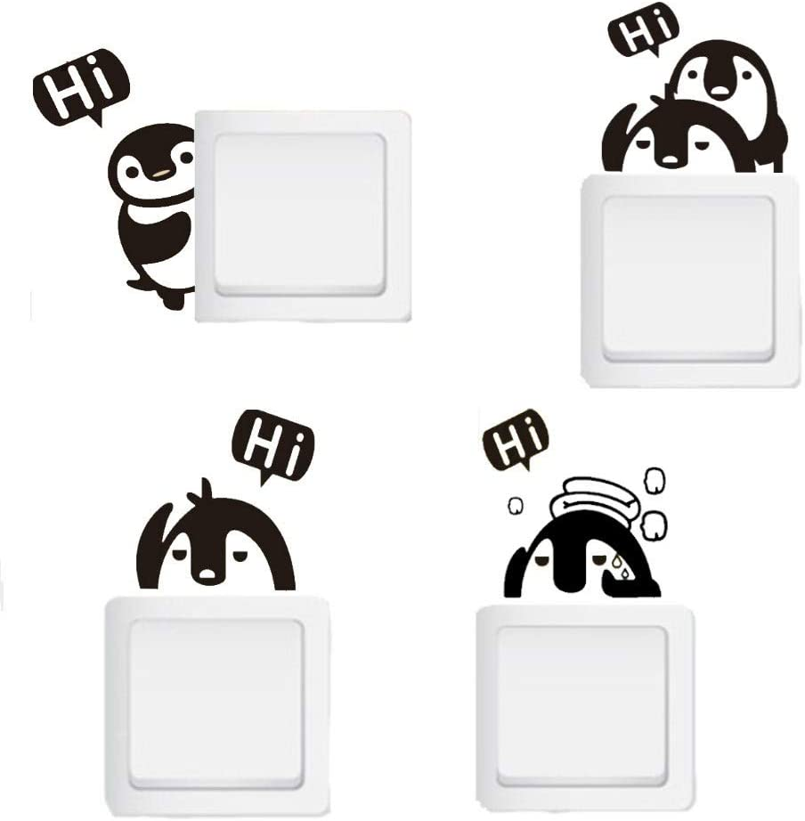 Removable Switch Stickers, 4 Cute Penguins Cartoon Wall Sticker, Light Switch Decor Decals, Family DIY Decor Art Stickers Home Decor Wall for Kids Bedroom Office Home Decoration