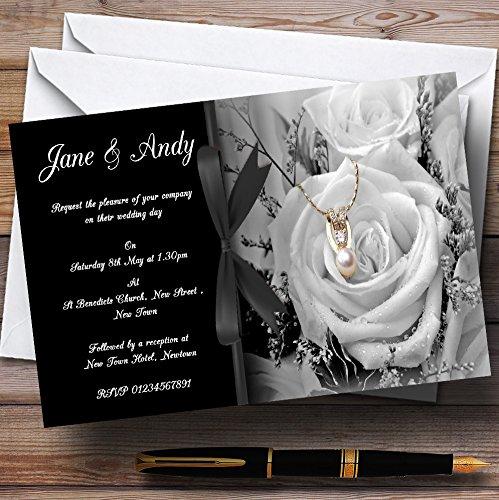 (Black White Rose Pearl Personalized Wedding Invitations)