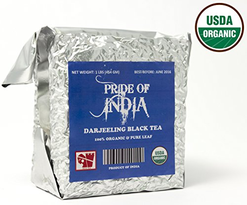 Pride Of India - Organic Darjeeling Afternoon Black Tea, Half Pound Leaf Tea - Black India Organic Tea