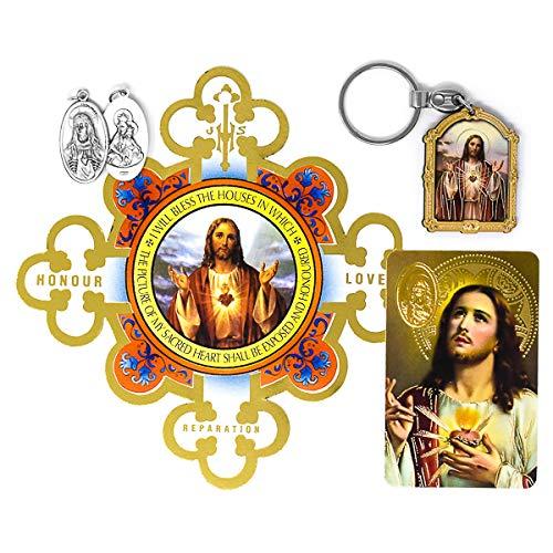 Sacred Heart of Jesus Catholic Gift Set, Medal, Prayer Card, Key Ring, Door Shield