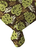 Ritz PEVA Brown Palm Print Table Cloth, 52-Inch by 52-Inch