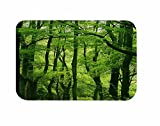 A.Monamour Nature Scenery Green Trees Forest Picture Print Flannel Absorbent Non-Slip Zen Yoga Meditation Mats Bathroom Rugs Doormats Floor Carpet 40x120cm / 16''x48''