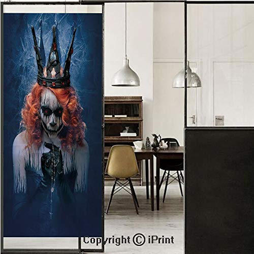 Queen 3D Decorative Film Privacy Window Film No Glue,Frosted Film Decorative,Queen of Death Scary Body Art Halloween Evil Face Bizarre Make Up Zombie,for Home&Office,23.6x70.8Inch Navy Blue Orange -