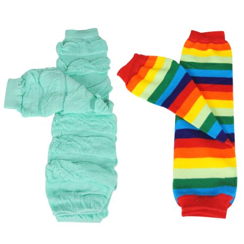 Wrapables Colorful Baby Leg Warmers (Set of 2) - Rainbow Ruched