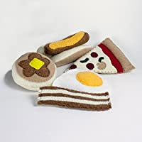 Felt Mini Meals Play Set, Hot Dog, Pizza, Pancake Egg and 2 pieces of Bacon
