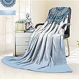 AmaPark Digital Printing Blanket Islamic Lace Design Wedding Inspired Art Sea Foam Slate Blue and White Summer Quilt Comforter