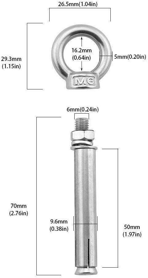 /Öse M6 x 70 mm Expanding Shield Anchor Eye Bolts /Ösen Chiloskit Augenschraube Ringschrauben Ankerbolzen Ziegel Ringschraube Edelstahl Beton