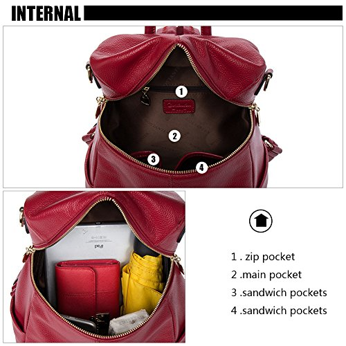 befcda5620 BOSTANTEN Women Leather Backpack Purse Satchel Shoulder School ...
