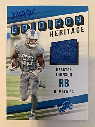 2019 Prestige NFL Gridiron Heritage Xtra Points Blue Jersey MEM #18 Kerryon Johnson Detroit Lions Official Panini Football Insert Trading Card from 2017 Prestige Football