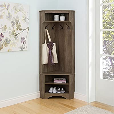Entryway Corner Storage Hall Tree Bench, Open Storage Compartment, Adjustable Shelf, 4 Fixed Metal Hooks, Space Saving Design, Functional Furniture, Gray Color + Expert Guide - Bring organization to one of the busiest areas of the home with this Hall Tree. This organizer has a compact functional design that is ideal for tight entryways, hallways, mudrooms and more. A row of 4 hooks keeps scarves, jackets, umbrellas at hand and the 3 compartments are a convenient spot for storing baskets, shoes, keys, mail and any other entryway clutter. Finished in drifted gray laminate. 1 bench, 2 fixed shelves and 1 adjustable shelf. 4 fixed metal hooks. 2 notch cutouts at base to accommodate baseboards. Constructed from CARB-compliant, laminated composite woods. - hall-trees, entryway-furniture-decor, entryway-laundry-room - 51pLC7HXrML. SS400  -