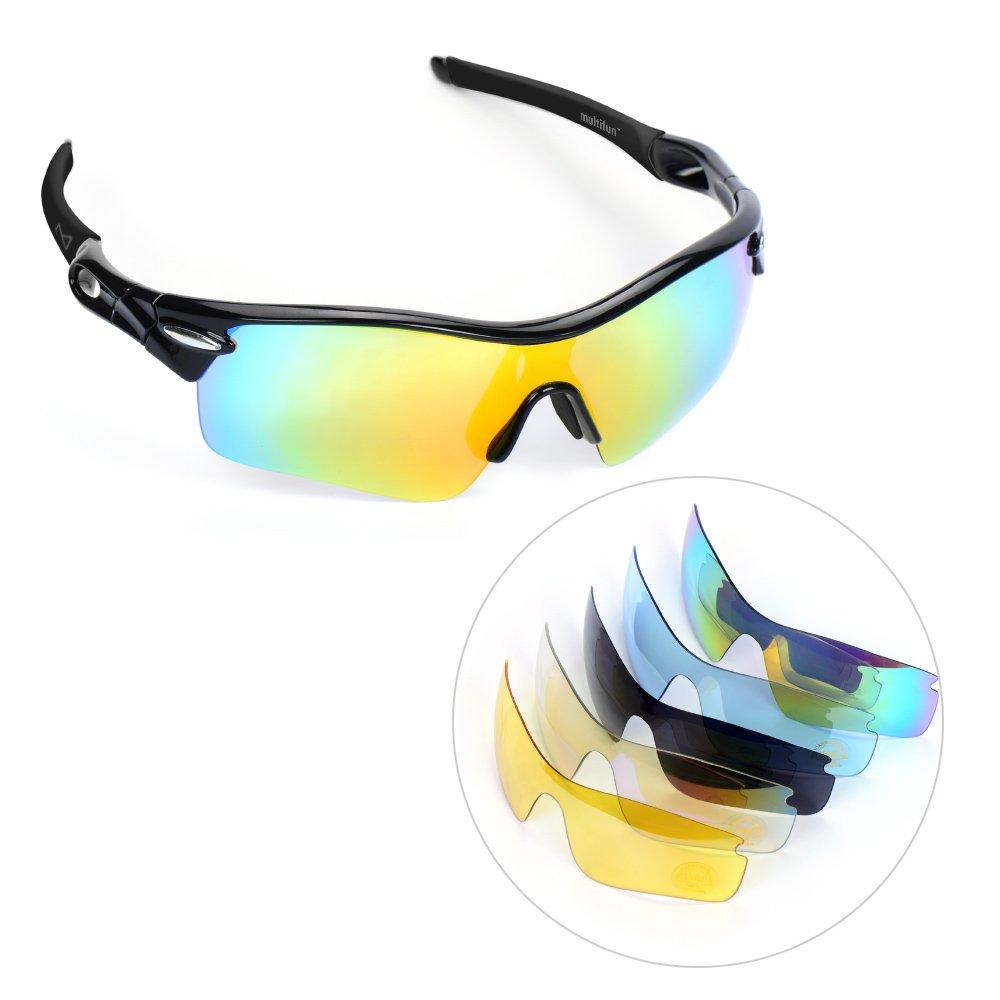Damen Herren Radsportbrille mit 5 Wechselbare Linsen,multifun ...
