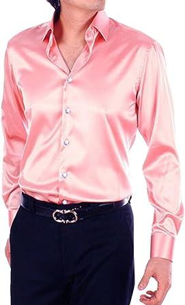 SILKQA - Camisa de vestir para baile de graduación de color sólido con ajuste regular para hombre - Negro - Large: Amazon.es: Ropa y accesorios