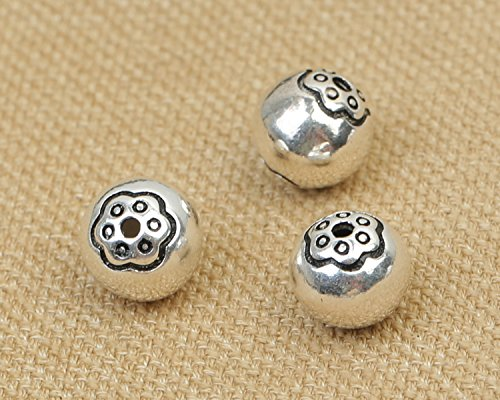 (Luoyi Vintage Thai Sterling Silver Beads, Round with Plum Flower, Smooth, Spacer Beads, DIY (C013Z) (10mm))