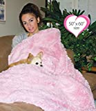 Peluche Powder Puff Shag Dog/Pet Blanket (50'' x 60'' Throw Blanket, Pink)