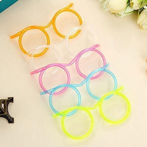 Party Supplies, Fun Party Drinking Straw Eye Glasses 5 Pieces Straw Tube Sets for Kids Birthday Parties and as Bar Accessories for Adult Parties (wedding, anniversary, birthday parties); Multi-color ()