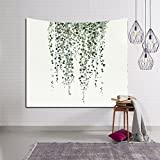 HYSENM Tropical Plant Monstera Tapestry Banana Leaves Wall Art Hanging Blanket for Bedroom Dorm Décor, Vine 59x51 Inches
