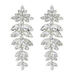 Floral Leaf Drop Crystal Burst Dangle Women S Statement Earrings In Clear Silver
