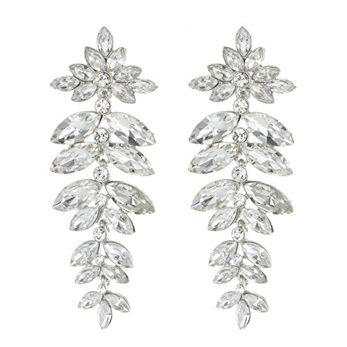 (Floral Leaf Drop Crystal Burst Dangle Women's Statement Earrings in Silver)