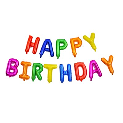 Colorful Rainbow Happy Birthday Balloons Banner, 16 Inches Color Mylar Foil Letter Balloons for Girls Boys Kids & Adults Birthday Decorations (with Ribbon): Toys & Games