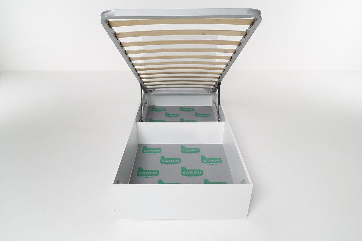 90x190 Cang/ù Letto Contenitore Hi Box Bianco+Trapunta Testata Scozzese-Rete