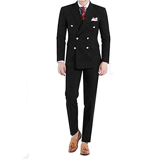 RONGKIM Men\u0027s 2 Piece Slim Fit Suit Double Breasted Wedding Groom Formal  Prom Party Tuxedo