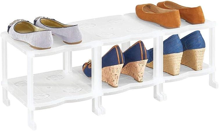 Organizador de Zapatos para Armario Bolsos o Carteras para Ahorrar Espacio Rosa y Blanco mDesign Juego de 2 Muebles zapateros Colgantes con 10 baldas Cada uno Estanter/ías para Zapatos